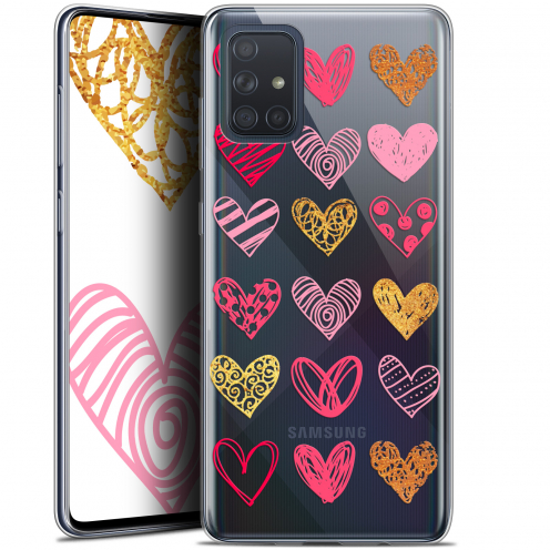 "Extra Slim Gel Samsung Galaxy A71 (A715) (6.7"") Case Sweetie Doodling Hearts"