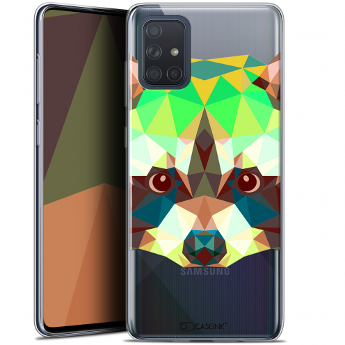 "Extra Slim Gel Samsung Galaxy A71 (A715) (6.7"") Case Polygon Animals Raton Laveur"
