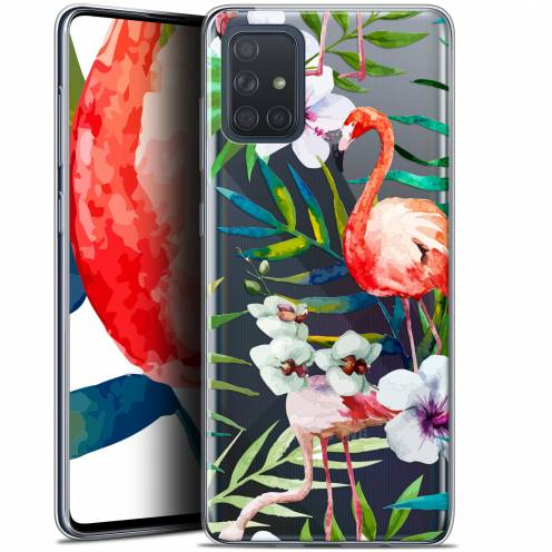 "Extra Slim Gel Samsung Galaxy A71 (A715) (6.7"") Case Watercolor Tropical Flamingo"