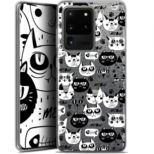 "Extra Slim Gel Samsung Galaxy S20 Ultra (6.9"") Case Design Chat Noir Chat Blanc"
