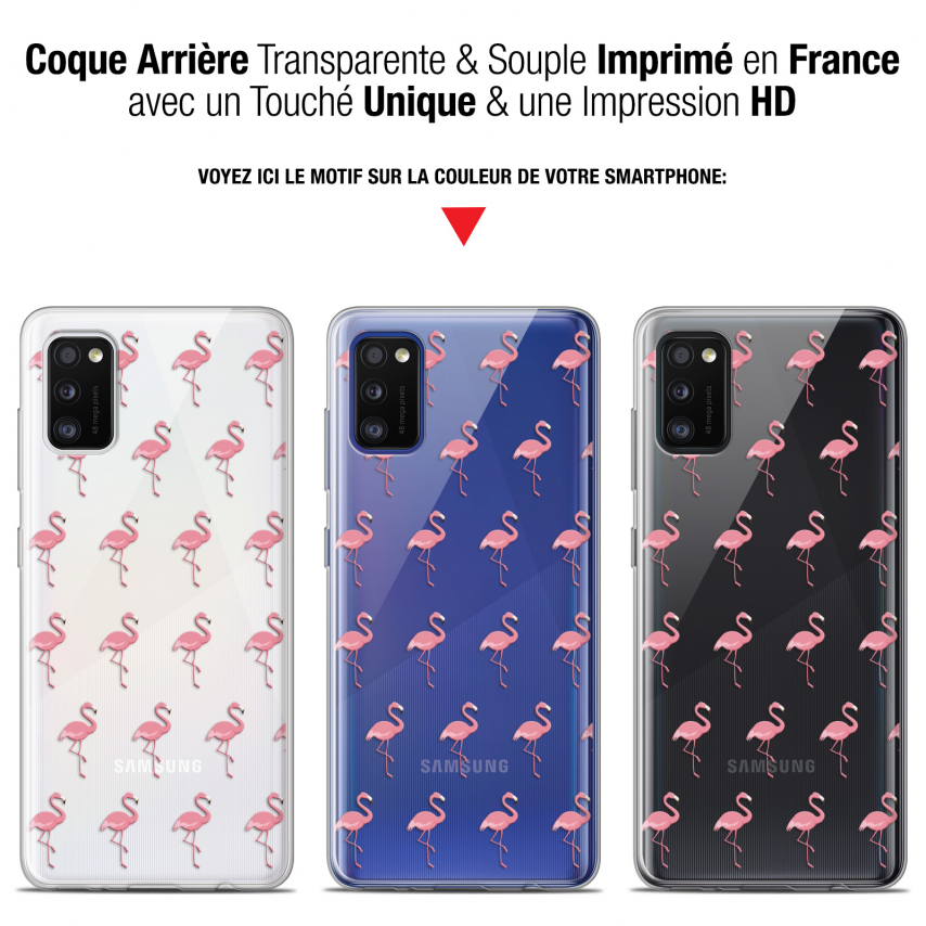 "Extra Slim Gel Samsung Galaxy A41 (6.1"") Case Pattern Les flamants Roses"