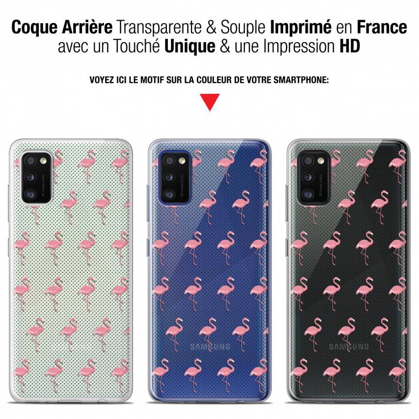 "Extra Slim Gel Samsung Galaxy A41 (6.1"") Case Pattern Les flamants Roses Dots"