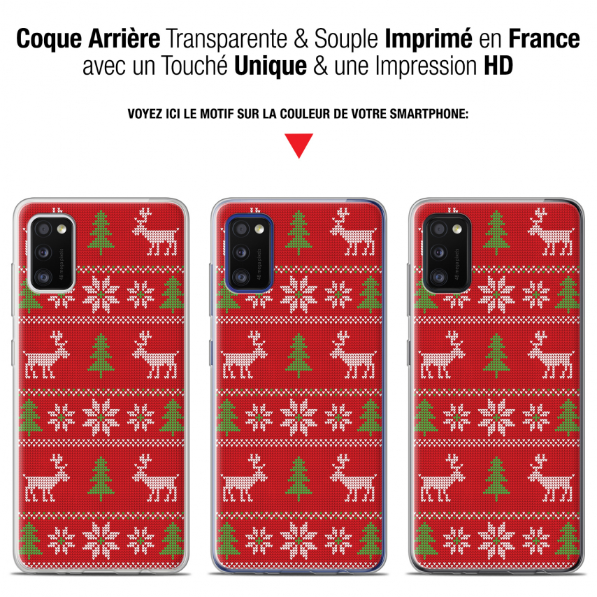 """Extra Slim Gel Samsung Galaxy A41 (6.1"""") Case Noël 2017 Couture Rouge"""