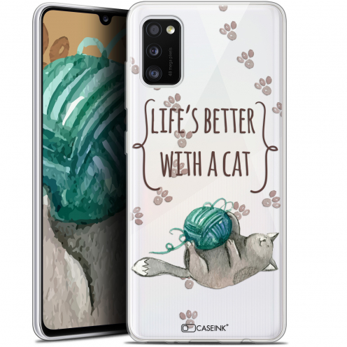 """Extra Slim Gel Samsung Galaxy A41 (6.1"""") Case Quote Life's Better With a Cat"""