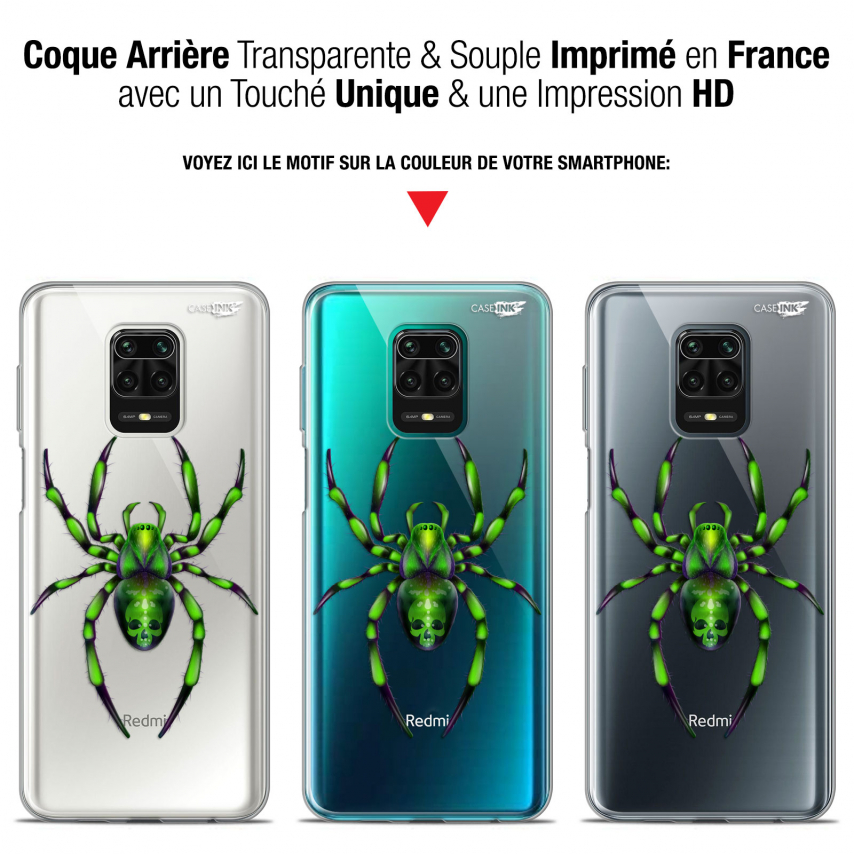 "Extra Slim Gel Xiaomi Redmi Note 9S (6.67"") Case Design Arraignée Verte"