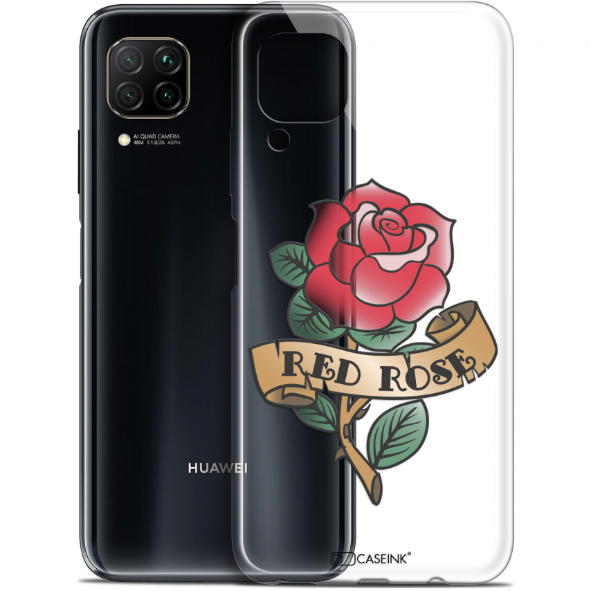 "Extra Slim Gel Huawei P40 Lite (6.4"") Case Tatoo Lover Red Rose"