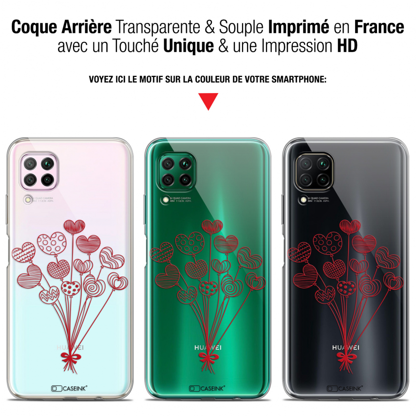 """Extra Slim Gel Huawei P40 Lite (6.4"""") Case Love Ballons d'amour"""