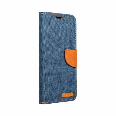 Canvas Book case for Samsung A40 navy blue