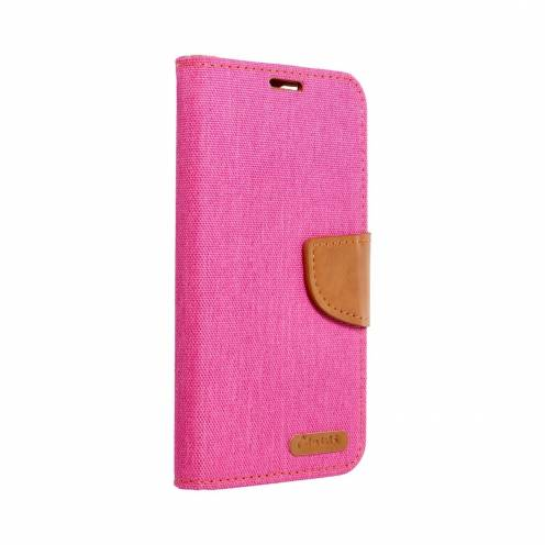 Canvas Book case for Huawei P20 Lite pink