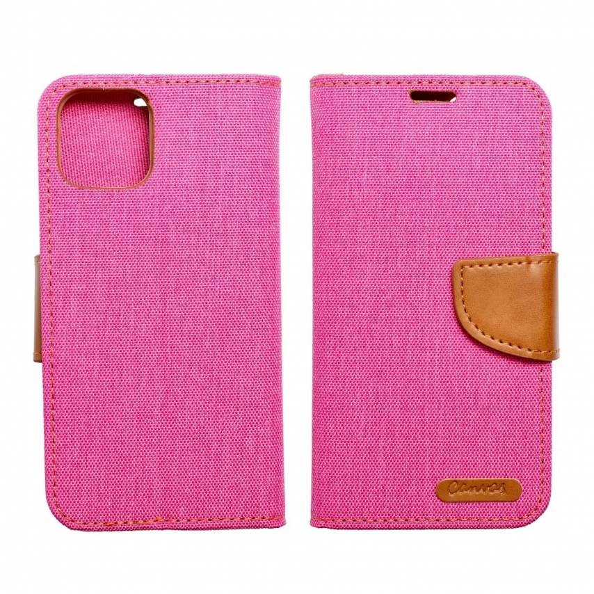 Canvas Book case for Samsung A40 pink