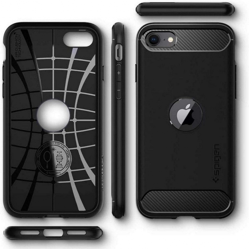 Spigen© Rugged Armor for iPhone SE 2020 black
