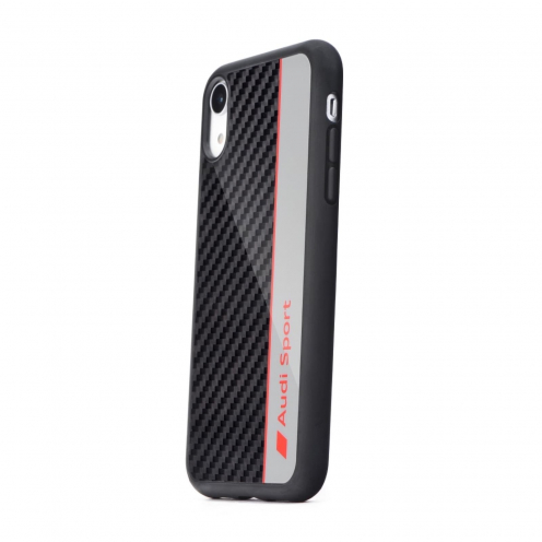 Original AUDI Carbon Fibre Case AUS-TPUPCIPXR-R8/D1-GY iPhone Xr grey