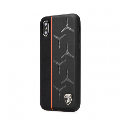 Original Leather Case Lamborghini AVENTADOR D12 LB-TPUPCIPXR-AV/D12-OE iPhone Xr black