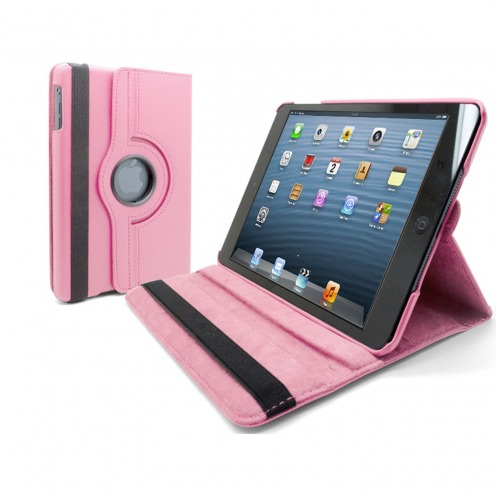 360 ° rotating smart leather case for iPad Mini Pink