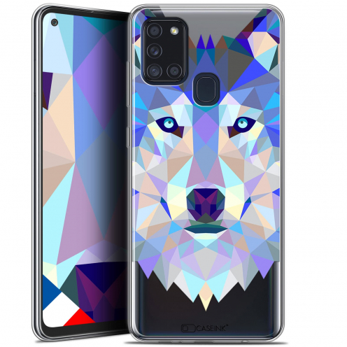 "Extra Slim Gel Samsung Galaxy A21S (6.5"") Case Polygon Animals Wolf"