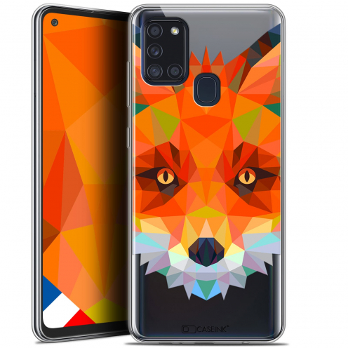 "Extra Slim Gel Samsung Galaxy A21S (6.5"") Case Polygon Animals Fox"