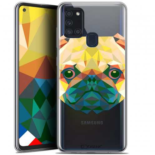 "Extra Slim Gel Samsung Galaxy A21S (6.5"") Case Polygon Animals Dog"