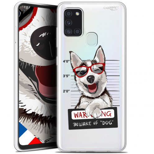 "Extra Slim Gel Samsung Galaxy A21S (6.5"") Case Design Beware The Husky Dog"