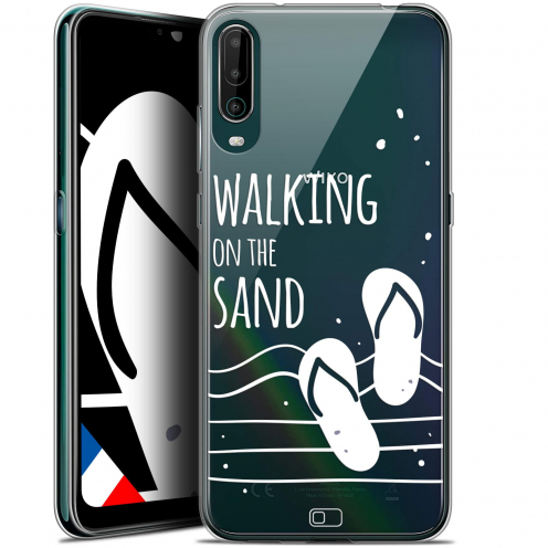 """Extra Slim Gel Wiko View 4 (6.5"""") Case Summer Walking on the Sand"""