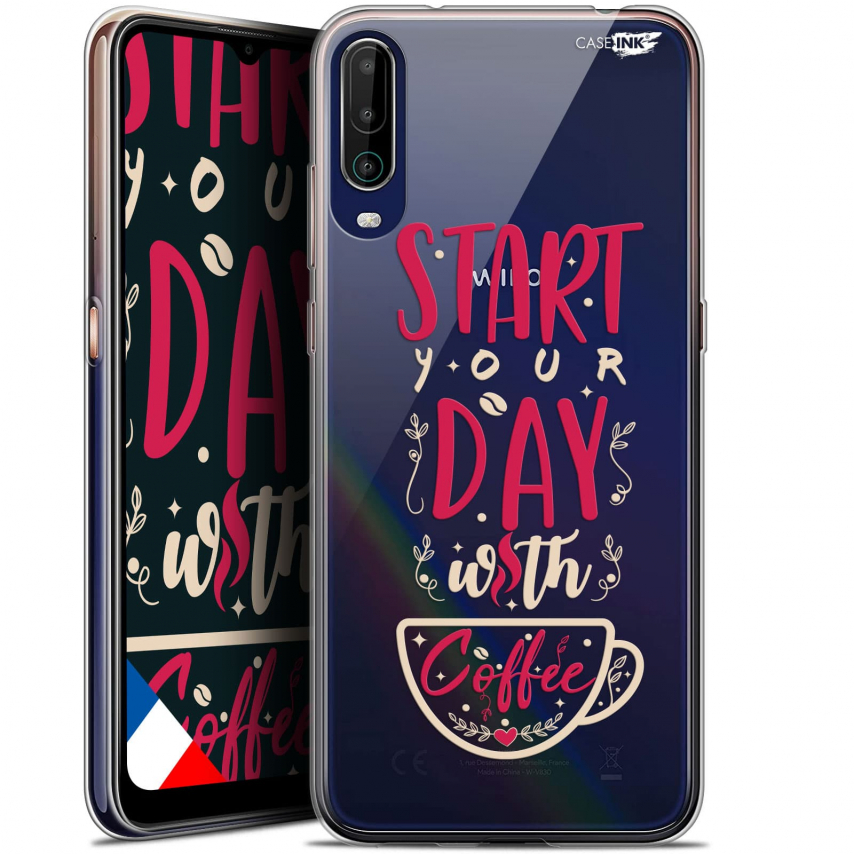 """Extra Slim Gel Wiko View 4 (6.5"""") Case Design Start With Coffee"""