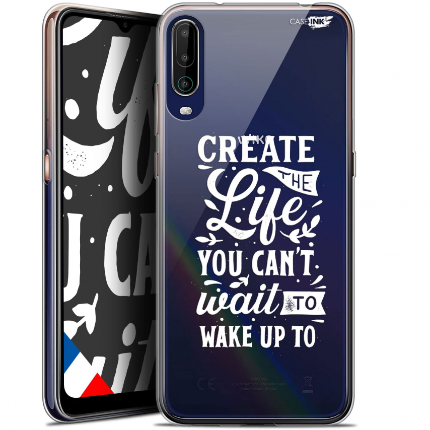 "Extra Slim Gel Wiko View 4 (6.5"") Case Design Wake Up Your Life"