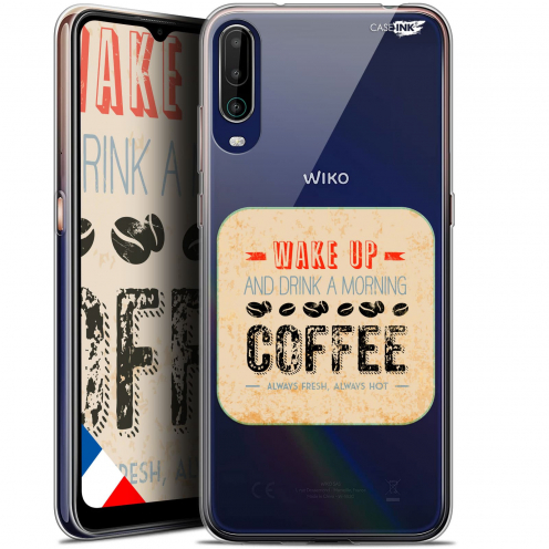 """Extra Slim Gel Wiko View 4 (6.5"""") Case Design Wake Up With Coffee"""