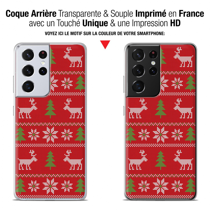 """Extra Slim Gel Samsung Galaxy S21 Ultra (6.8"""") Case Noël 2017 Couture Rouge"""
