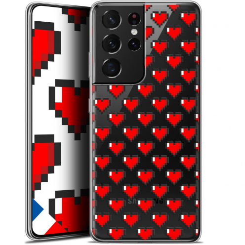"Extra Slim Gel Samsung Galaxy S21 Ultra (6.8"") Case Love Pixel Art"