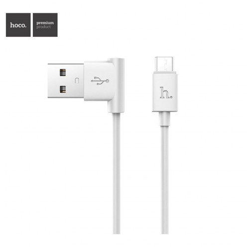 HOCO L shape charging data cable for Micro UPM10 1 meter white