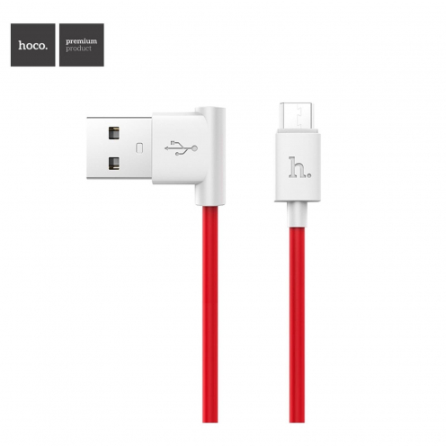 HOCO L shape charging data cable for Micro UPM10 1 meter red