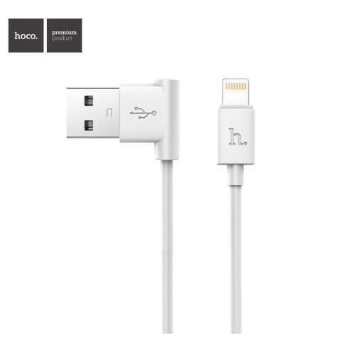 HOCO L shape charging data cable for iPhone Lightning 8-pin UPL11 meter white