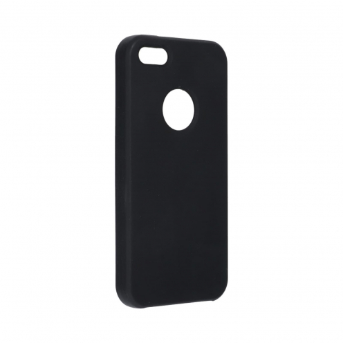 Forcell Silicone Case for iPhone 5 / 5S / 5SE black (with hole)