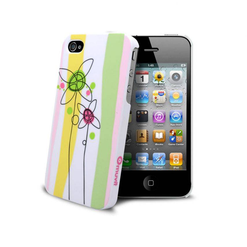 Muvit® Doodle Case Flowers iPhone 4S/4