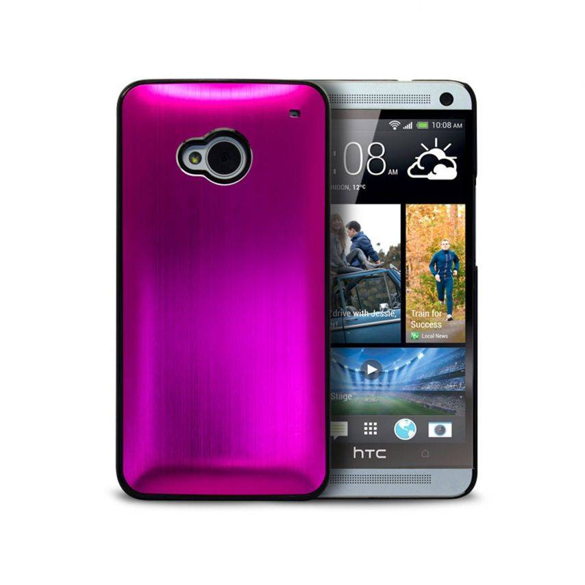 Brush Back Alu case for HTC One Pink