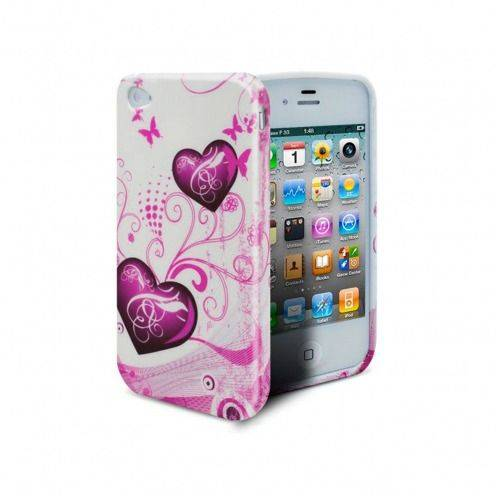 ABSTRACTION soft case Pink hearts Design for iPhone 4/4S