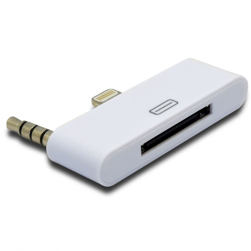 Audio Adapter 30-pin to 8 pins White Compatible iPhone 5 - iPad Mini - iPad Retina