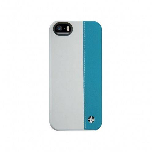 Genuine leather Trexta® case Duo bi White & Turquoise iPhone 5S - 5
