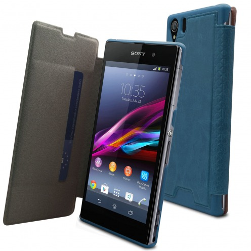 Cover Wallet Folio for Sony XPERIA Z1 marbled leatherette Blue