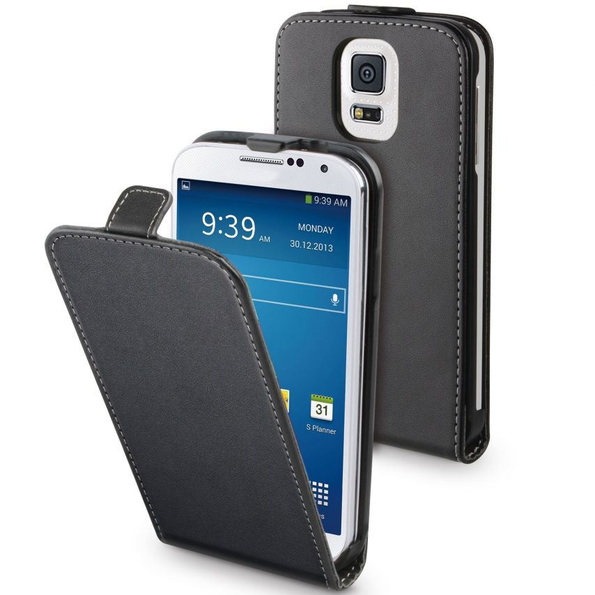 Muvit ® Slim PU luxury leather flap case black for Galaxy S5