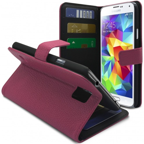 Smart Cover Galaxy S5 Pink Leatherette Full Grain
