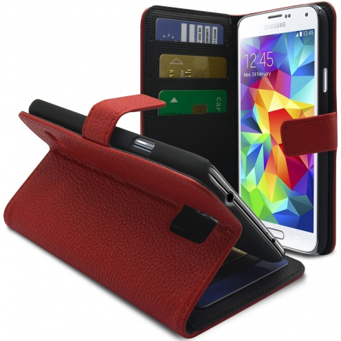 Smart Cover Galaxy S5 Red Leatherette Full Grain