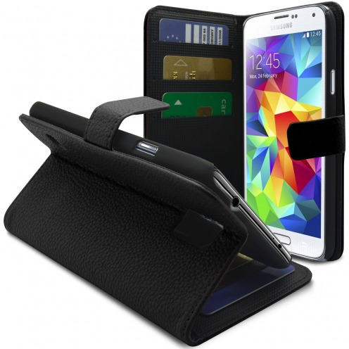Smart Cover Galaxy S5 Black Leatherette Full Grain
