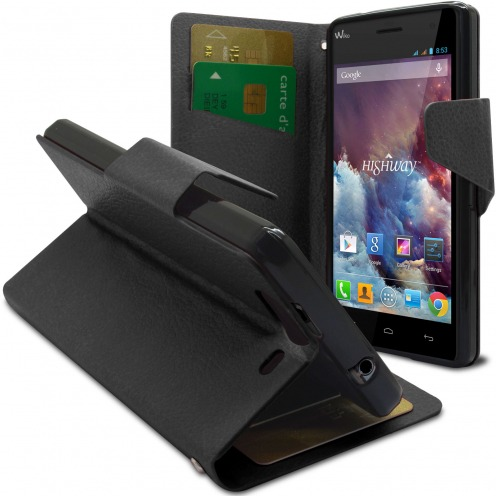 Smart Cover Wiko Highway pebbled PU Leather Black