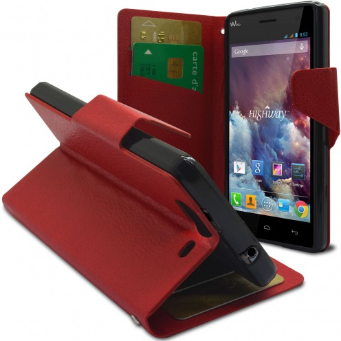 Smart Cover Wiko Highway pebbled PU Leather Red
