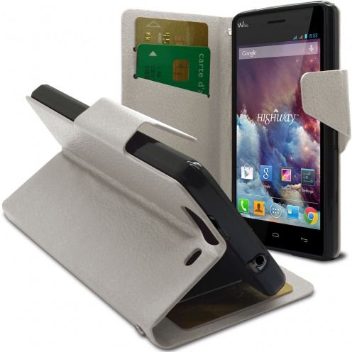 Smart Cover Wiko Highway pebbled PU Leather White