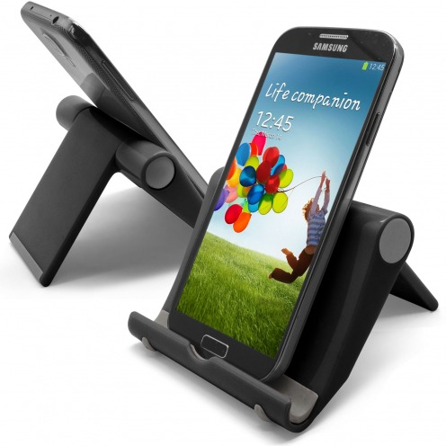 Universal desk support for smartphones and tablets lacquered black