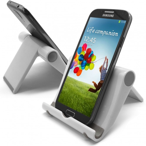 Universal desk support for smartphones and tablets lacquered white