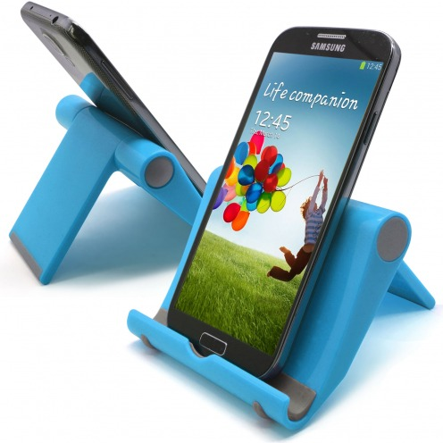 Universal desk support for smartphones and tablets fluorescent blue