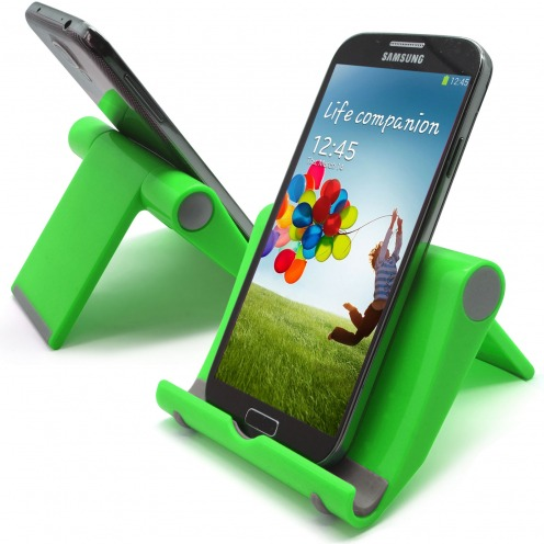 Universal desk support for smartphones and tablets fluorescent green