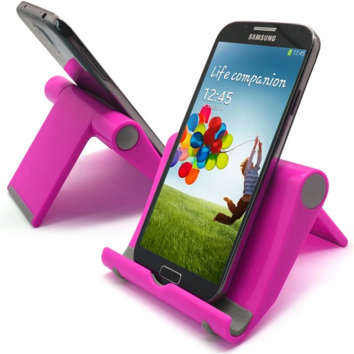Universal desk support for smartphones and tablets fluorescent pink